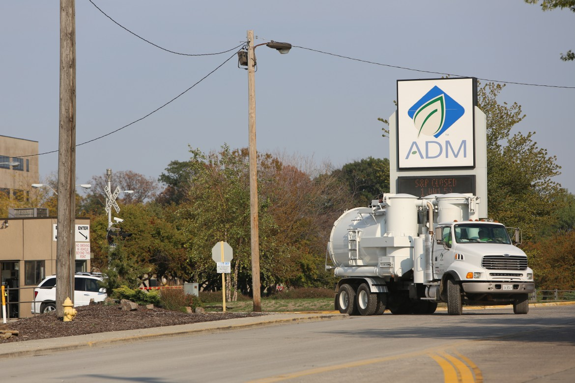 Truck pulling out of ADM plant