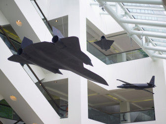 Suspended from the ceiling of the CIA's headquarters in Virginia are reminders of intelligence history: three models of the U-2, A-12, and D-21 Drone. These models are exact replicas at one-sixth scale of the real planes. All three had photographic capabilities.
