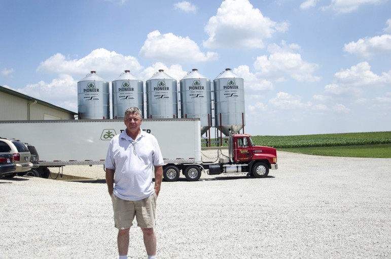 David Plunk posing for photo on the Plunk Brother's family farm in Farmer City, Ill., on June 19, 2013, where he is in charge of selling their commodities