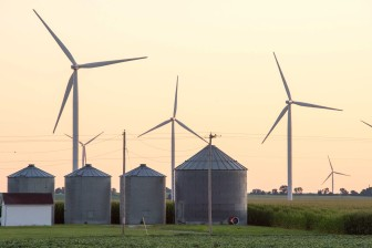 Wind turbines north of Fifthian, Illinois on Wednesday, July 24, 2013.