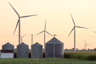 Wind turbines north of Fifthian, Illinois on Wednesday, July 24, 2013.