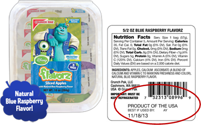 The specific recalled products include Tart Apple Slices, Sweet Honeycrisp Apple Slices and Blue Raspberry Apple Slices.