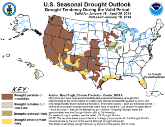 Drought conditions are projected to persist or intensify for much of the western United States, according to Natural Resources Conservation Service predictions. Click on the image to view a larger version of the map.