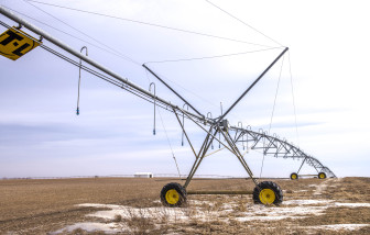 Irrigation equipment in a field near Gifford, Ill.,  sits idle during the winter. According to federal studies, irrigation consumes more water than anything else.