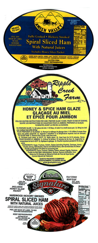These are some of the labels belonging to the Gust Packing recalled ham products.