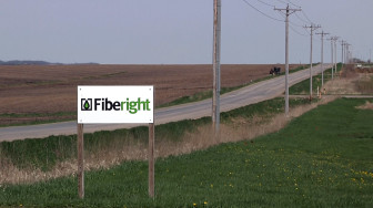 The Fiberight sign outside its ethanol plant just outside of Blairstown, Iowa. Photo taken May 4, 2014.