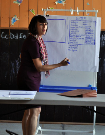 Karla Altmayer, a Legal Assistance Foundation fellow, leads a workshop at the River Valley Migrant and Seasonal Head Start in central Illinois last month. During the workshop, migrant workers discussed gender-based violence in the workplace.