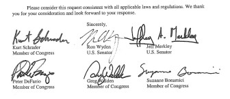 Six of seven House and Senate members from Oregon voiced expressed concern in a letter. The names are signed above.