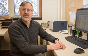 Brian Diers, a University of Illinois professor who specializes in soybean breeding and genetics, in his campus office on Jan. 8, 2015.