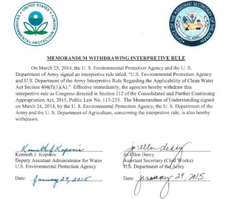 Click on the image to read the official withdrawal notice submitted by the EPA and Army Corps of Engineers.
