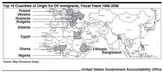 A map showing where diversity visa program immigrants originate. Click on the image to visit the source report.