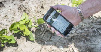 Apgar Farms representative Tom Austin demonstrates some of the data available on the Climate Corporation app used at the farm's operation near Tuscola, Ill., on June 10, 2015. Monsanto has pledged to become carbon neutral by 2021.