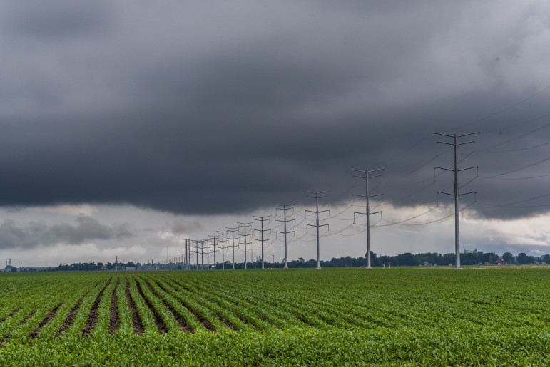 A thunderstorm sweeps over Champaign County in Illinois on May 30, 2015.