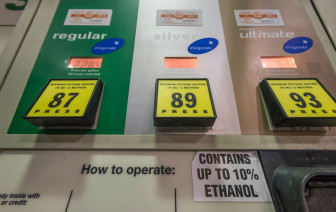 Fuel pumps at an Illinois BP gas station. Under the options, consumers are notified that gas contains up to 10 percent ethanol.