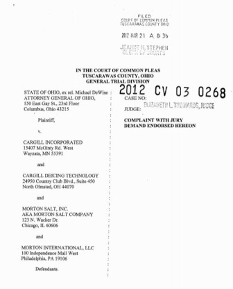 Click on the above image to read Ohio's original complaint against Cargill and Morton Salt in full.