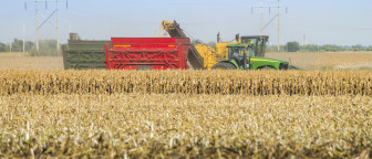 Harvest activity just south of Rantoul, Ill., on September 26, 2014. According to the U.S. Department of Agriculture, 2014 was the top-yielding year in U.S. corn production history.