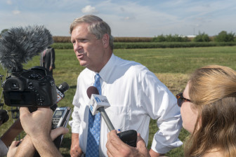 U.S. Secretary of Agriculture Tom Vilsack talks to the media on Sept. 10, 2015. He spoke from the Energy Farm near Urbana, Ill.