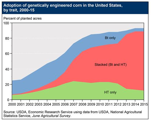 A screen grab from the U.S. Department of Agriculture. The graphic shows adoption rates of genetically engineered seeds in agriculture.