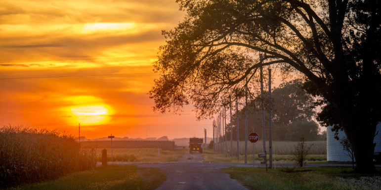The sun sets on a rural central Illinois road on Sept. 24, 2015.