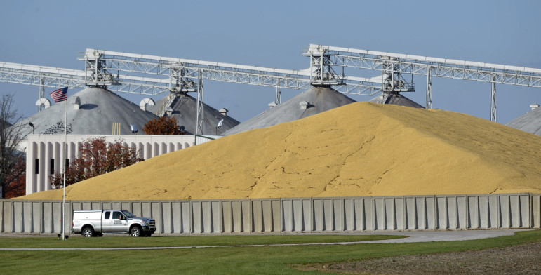 Grain stored outside after harvest at the Andersons facility near Champaign, Ill., on Nov. 6, 2015. According to the U.S. Department of Agriculture, 2013, 2014 and 2015 have all been among the top harvest years on record.