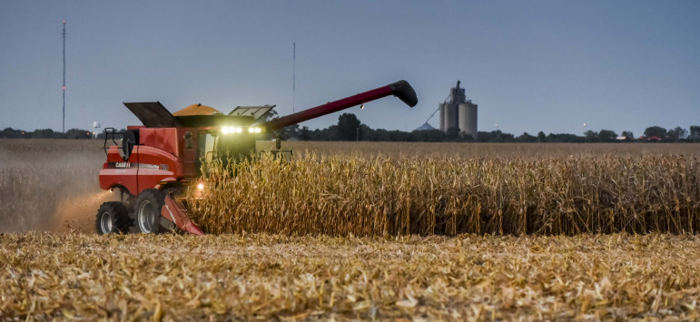 A central Illinois farmer works late during harvest time on Sept. 14, 2015.