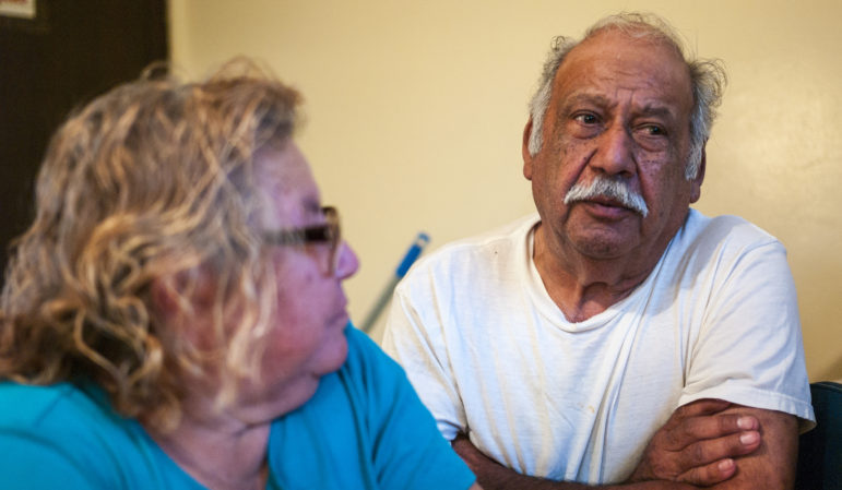 "Leonor Pizana, 65, and Tomas Pizana, 69, talk about living at the bed bug-ridden Pine Creek housing facility in Holland, Michigan, on June 16, 2016. ""We're getting eaten,"" Leonor says."