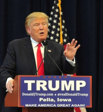 Donald Trump speaks in Pella, Iowa. Trump