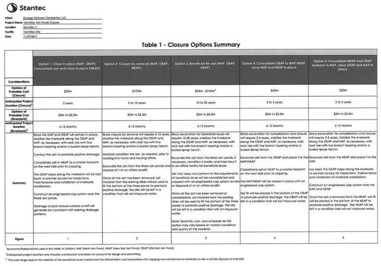 A table from a report showing five different options for closing the ash ponds, along with their estimated costs
