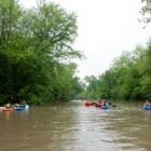 People canoeing on a river