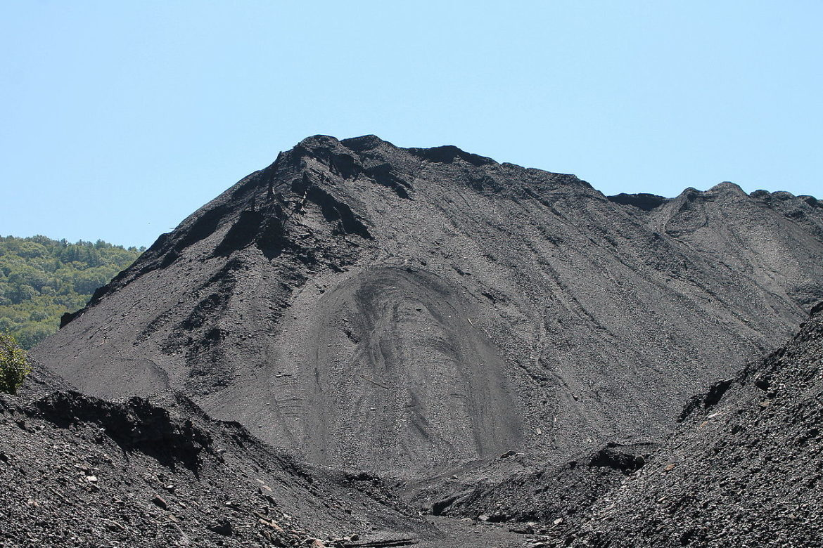 A large pile of coal waste