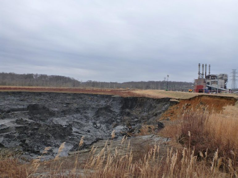 A view of the collapsed coal ash impoundment and closed power plant at Duke Energy's Dan River Steam Station, Eden, North Carolina.