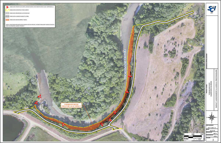 A diagram showing a plan to install white rock along a one-third mile section of the Middle Fork River