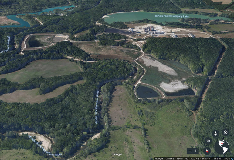 A view of the Vermilion Power Station, the coal ash ponds, and the Middle Fork River as seen by satellite via Google Earth