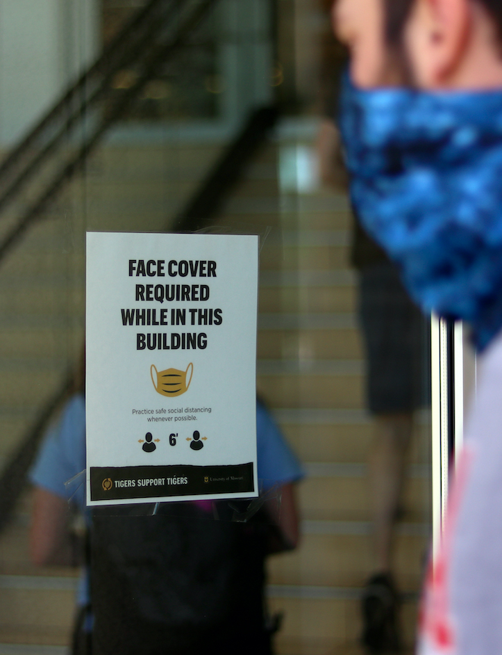 A sign at MU requiring face coverings in the building.